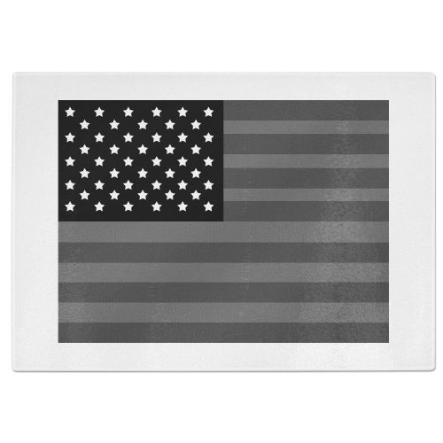 Dark American Flag Tempered Glass Chopping Board - White